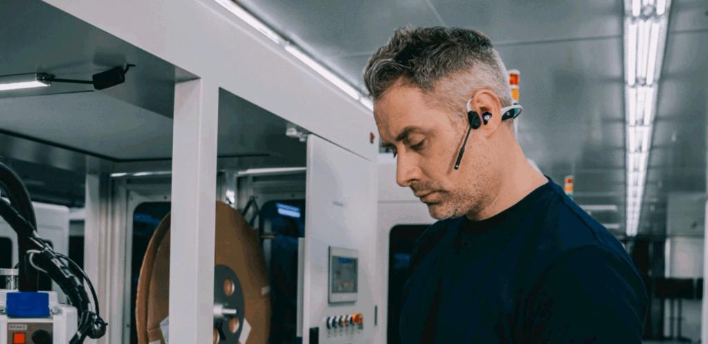 Bluetooth Headset in Kombination mit EARfoon Gehörschutz-Otoplastikschutz